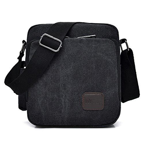 MeCool Schultertasche Canvas Umhängetasche Designer Marken Reisetasche Taschen für Männer Schule Retro Weekender Freitag Günstig Messenger Strandtasche Sporttasche Reisetaschen, Schwarz (Für Männer Messenger Bag Boss Hugo)