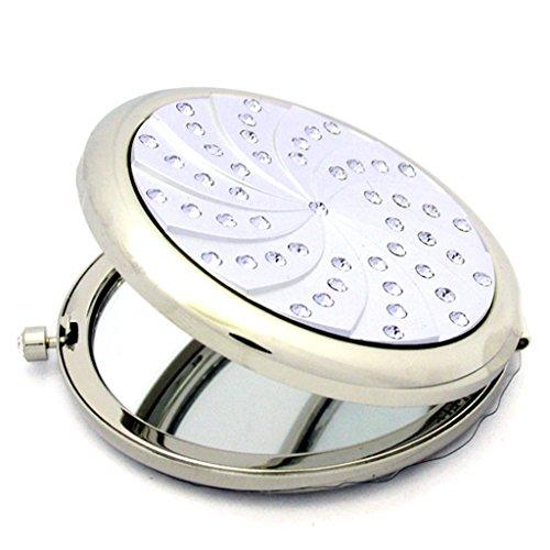 Poche de pliage simple- Miroir Petit miroir métal Miroir double face Diamant Vanity beauté miroir rond Portable Cadeau Miroir Miroir Dressing Bienvenue