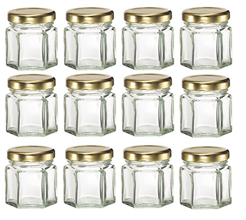 nakpunar 12PCS, 1,5oz Mini Sechseck Gläsern für Marmelade, Honig, Hochzeit Bevorzugungen, Dusche, Gastgeschenken Baby Foods, DIY magnetische Gewürzgläser