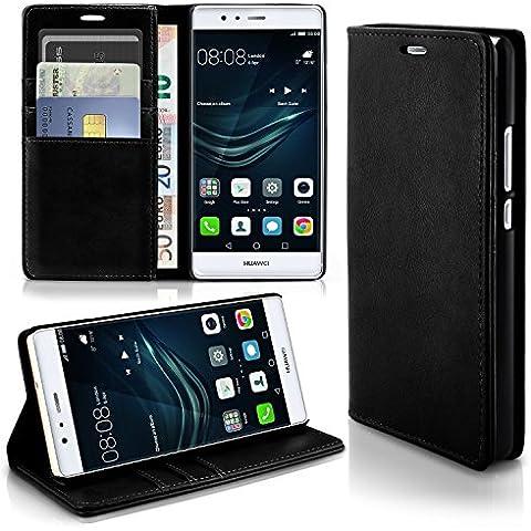 Caso casual para Huawei P9 | caso práctico con ranuras para tarjetas y la función del soporte | Bolsa de protección celular OneFlow | La cubierta del tirón en Onyx