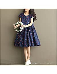 pllp Moda de mujer, falda de estudiante de verano, vestido estampado grande, vestido