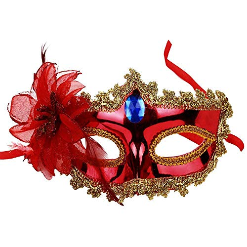 (Fuxitoggo Halloween Sexy Feder Pailletten Elegante Augenmaske Maskerade Ball Karneval Fancy Party (Farbe : 2-Red))