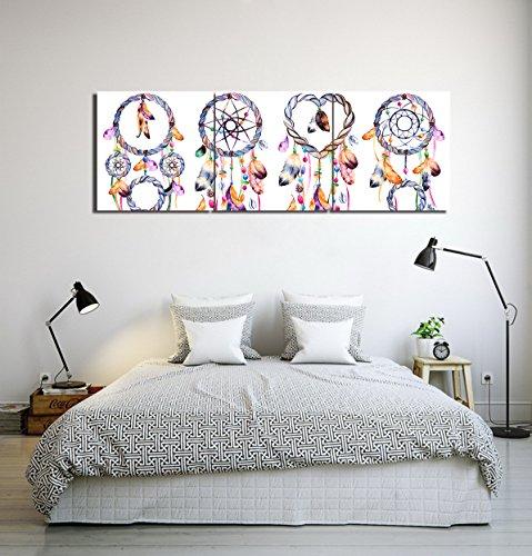 LB Bohemia,plumas,atrapasueños_Cuadro de pintura al óleo moderna Impresión de la imagen en la lona Arte de la pared para la sala de estar,Dormitorio,decoración del hogar,3 piezas 40x40,con marco