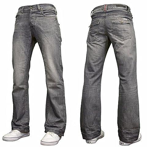 Enzo Mens Nouveau Concepteur Bootcut Jeans Denim Lavage Gris W32-