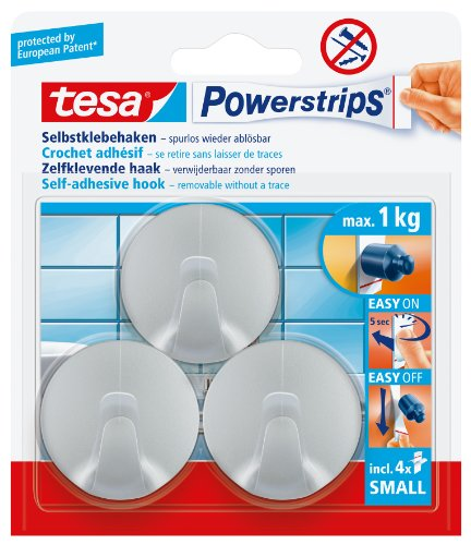 tesa-57578-powerstrips-small-hooks-circle-matt-chrome-with-self-adhesive-and-removable-3-hooks