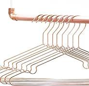 rod & knot - Grucce appendiabiti in metallo resistente, 8 pezzi, colore: oro