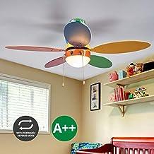 Lampenwelt Deckenventilator Mit Lampe (Für Kinder) Aus Holz U.a. Für  Kinderzimmer (1 Flammig