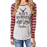 Hansee Weihnachten Pullover,Damen T-Shirt Langarm Rundkragen Baumwolle Streifen Brief Bluse Tops (2XL, Gray)