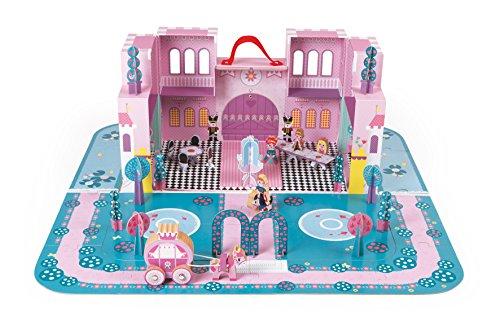 Preisvergleich Produktbild Janod J02789 - Spielset im Koffer Märchenschloß inclusiv Bodenpuzzle und Zubehör
