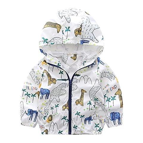 Brightup Enfants Fille Garçon Imprimé Manteau Veste avec capuche Automne Pour 2-6 Ans