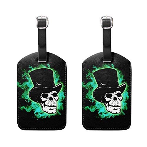Kofferanhänger mit Ausweis, [] Luggage Tags, Leather Name ID Labels with Back Privacy Cover for Travel Bag Suitcase, Halloween Skull Set of 2