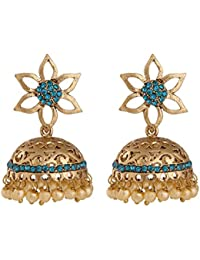 Voril Fashion Blue Colour Alloy Dangle Earring For Women