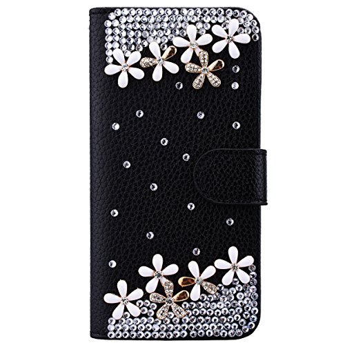 Nokia Lumia 650 Cover PU Pelle, Interno Rigida Leather Wallet Stand Case per Porta Carte di Credito, Disegno di Cristallo Bling Strass Diamond Pattern Custodia Supporto Funzione Chiusura Ventosa Caso Protettiva Portafoglio Copertina per Regalo di Natale - Piccolo Fiore