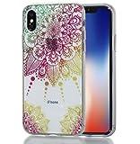 iphone X Hülle, MKOAWA Kunst Gemaltes Kristall Bling Glänzend Funkeln Glitzer Durchsichtig Klar TPU Silikon Hülle Schutz Handy Tasche Etui Bumper Hülle für Apple iphone X/10 (5.8 Zoll) (No.3)