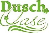 GRAZDesign 650223_30_063 Wandtattoo Dusch-Oase | Duschaufkleber für Glas -Wand und Fliesen | für Duschbereich und Badezimmer | Tür-Aufkleber WC (44x30cm // 063 lindgrün)