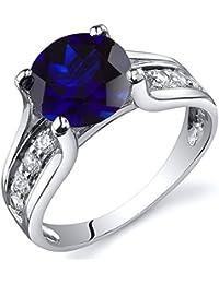 Revoni Bague Femme Solitaire - Argent Fin 925/1000 - Oxyde de Zirconium - Saphir Bleu 2.75 ct