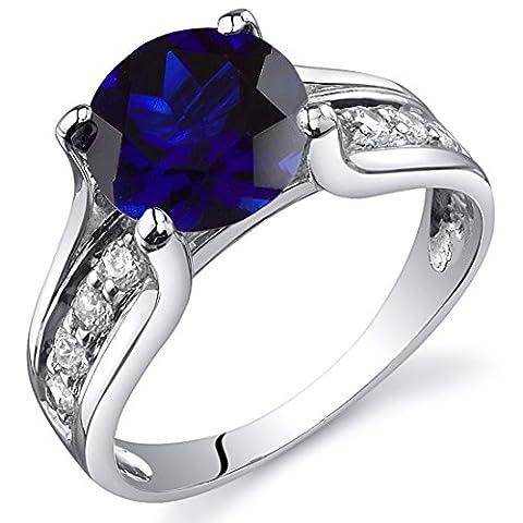 Revoni Damenring 925 Sterlingsilber Saphir blau-2.75 Karat Größe 54