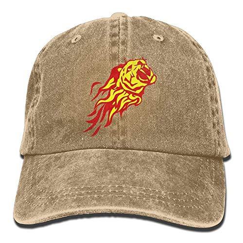 Hoswee Unisex Kappe/Baseballkappe, Fire Flame Tiger Denim Hat Adjustable Womens Mini Baseball Cap -