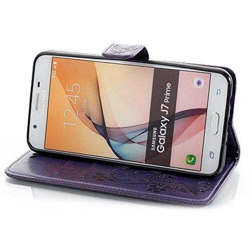 EKINHUI Case Cover Horizontale Folio Flip Stand Muster PU Leder Geldbörse Tasche Tasche mit geprägten Blumen & Lanyard & Card Slots für Samsung Galaxy J7 Prime ( Color : Red ) Purple