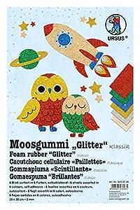 Ursus 8490099 Glitter Clásico, 6 Hojas de gomaespuma Surtidas en 6 Colores Diferentes, Aprox. 20 x 30 cm, 2 mm de Grosor, Autoadhesivo