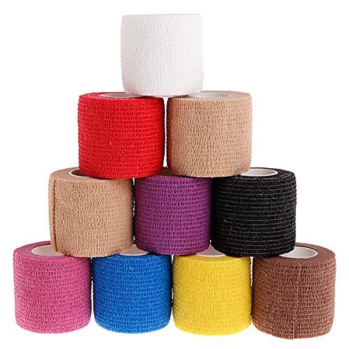 Yiwann Kinesiologie Tape, elastische Bandage Tape für Übung, 10 Rollen, Einweg, selbstklebendes Sport-Tape für Sport und Verletzungserholung