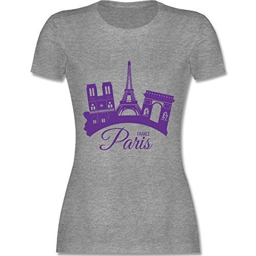 Skyline - Skyline Paris Frankreich France - tailliertes Premium T-Shirt mit Rundhalsausschnitt für Damen Grau Meliert