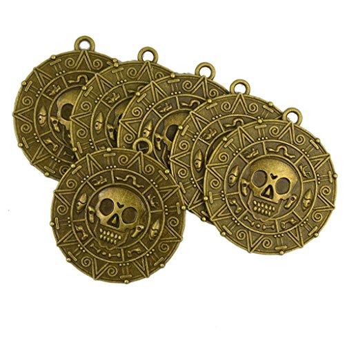 6x Punk Halloween Piraten Aztekischer Münze Medaillon Schädel -
