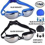 Packung mit 2 Schwimmbrillen, Leckfreier UV-Schutz Anti-Nebel-Schwimmen-Gläser mit verstellbarem Schultergurt für Unisex-Erwachsene -Teenagers, mit Schwimmkappen, Nasenclips, Ohrenstöpsel