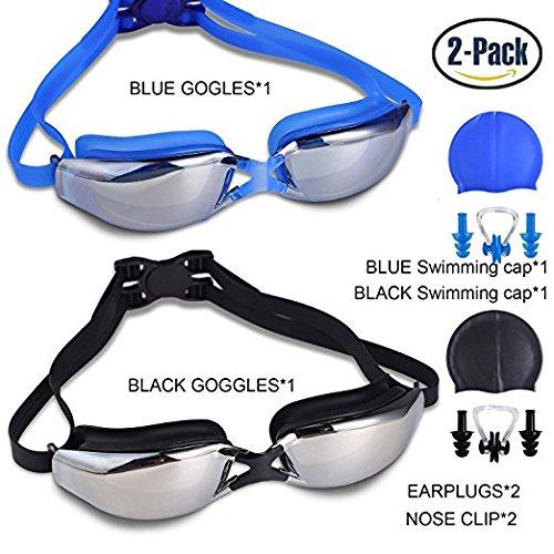 Packung mit 2 Schwimmbrillen, Leckfreier UV-Schutz Anti-Nebel-Schwimmen-Gläser mit verstellbarem Schultergurt für Unisex-Erwachsene -Teenagers, mit Schwimmkappen, Nasenclips, Ohrenstöpsel (Hat Schultergurt Verstellbarer)