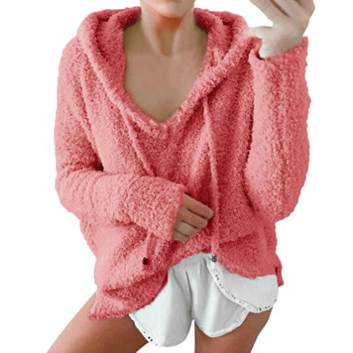 Internet Damen Langarmshirts Winter warme Bluse Sweatshirt Hoodie Pullover (rosa, XL) (Short Knit Printed)