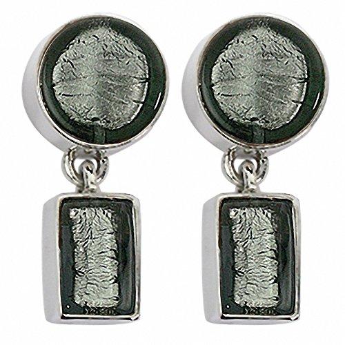 Gabriella Nanni, boucles d'oreilles en argent 925avec verre de Murano-Verre Non déclaré-Boucles d'oreilles doux rond petit et rettangolini-à Lobo gris