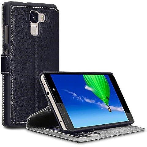 Huawei Honor 7 Funda Cartera, adaptable en posicion horizontal - Negro