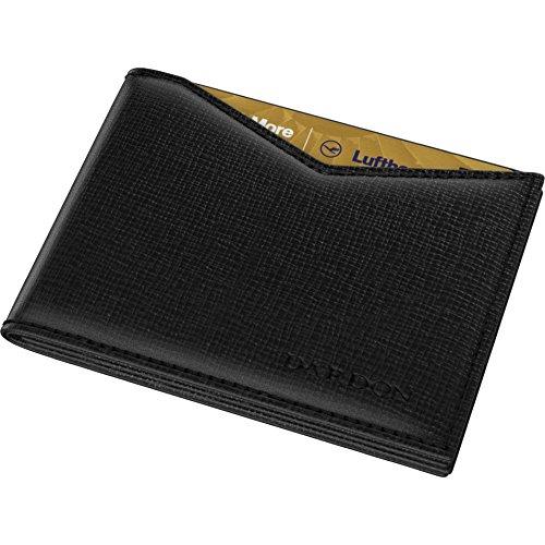 DARDON® Flap Wallet, Schwarze Geldbörse Für Herren, Komplett Saffiano Leder, Platzsparendes Portemonnaie Mit RFID Blocker aus Italienischem Kalbsleder (Wallet Leder Flap Card)