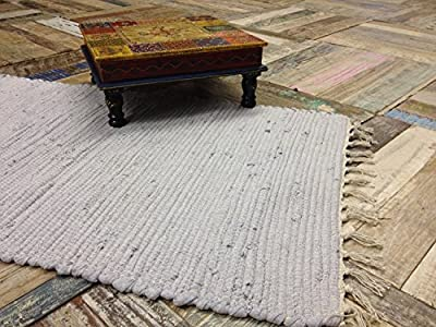 Hand Loomed Cotton Indian Chindi Stitched Rag Rug in Pale Grey 60cm x 90cm - cheap UK light shop.