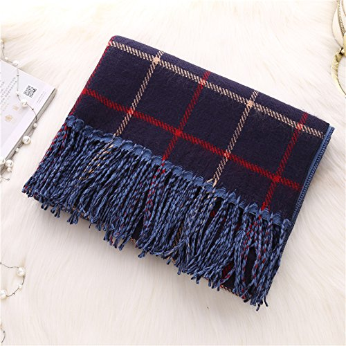 MINMINA Cashmere Scarf Imitation Cashmere Scarf Shawl   dual-use Autumn and Winter Double-Sided Thickening Couple Scarf, Color Navy Cashmere Tartan