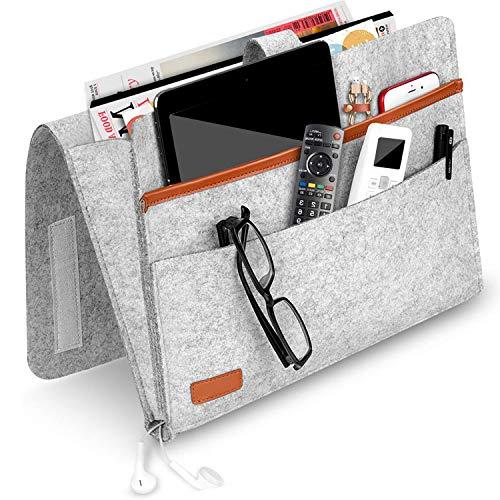O-Kinee Betttasche, Filz Betttasche Anti-Rutsch Nachttisch Tasche Sofa-Bett Hängeaufbewahrung für Buch, Zeitschriften, iPad, Handy, Fernbedienung - Hellgrau