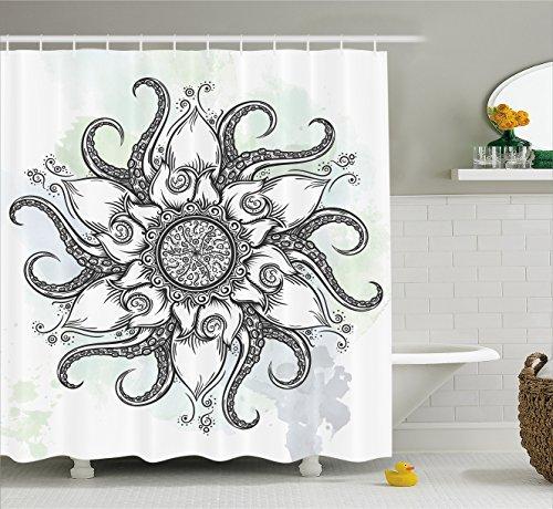 Octopus Decor Vorhang für die Dusche von ambesonne, trippy Nautische Mandala Made Abstrakte Kunst Tentakel und Floral Elementen Design, Stoff Badezimmer Decor Set mit Haken, 177,8cm, grau weiß