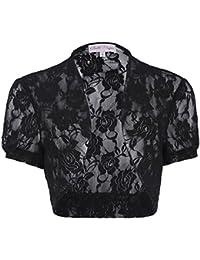 Belle Poque®Mujeres Lace Toreras Para Vestido Manga Corta Negro/Blanco 217
