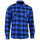 Bikers Gear Australia Limited Motorrad Kevlar Aramid gefüttert Schutz Flanell Hemd, blau/schwarz, Größe XL