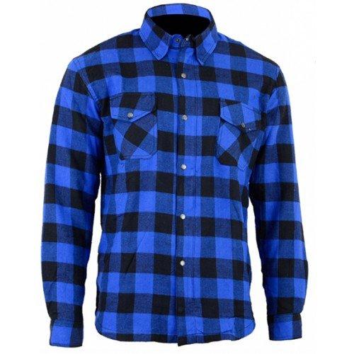 Bikers Gear Australia Limited Motorrad Kevlar Aramid gefüttert Schutz Flanell Hemd, blau/schwarz, Größe XL - Seite-snap-shirt