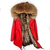 Damen Luxury Parka XXL Kragen aus 100% Echtpelz Echtfell Jacke Mantel Fuchspelz Innenfutter (XXL/42, Rot)