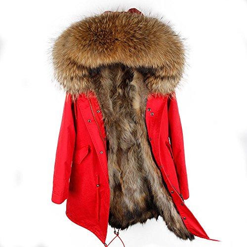 Damen Luxury Parka XXL Kragen aus 100% Echtpelz Echtfell Jacke Mantel Fuchspelz Innenfutter (M/36, Rot) (Pelz Jacke Damen)