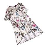 MRULIC Damen Frauen Sommer Casual Kurzarm Lose T-Shirt Baumwolle Leinen Bluse Tops Geschenk zum Muttertag (EU-46/CN-3XL, C-Weiß)