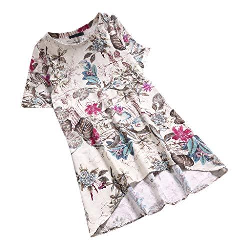 OverDose Damen Casual Übergröße Unregelmäßige Mode Lose Leinen Kurzarm Shirt Vintage Bluse Fest Hemd Lang Tank Tops T-Shirt Freizeit Oberteile Tees - Damen Heavyweight Tee