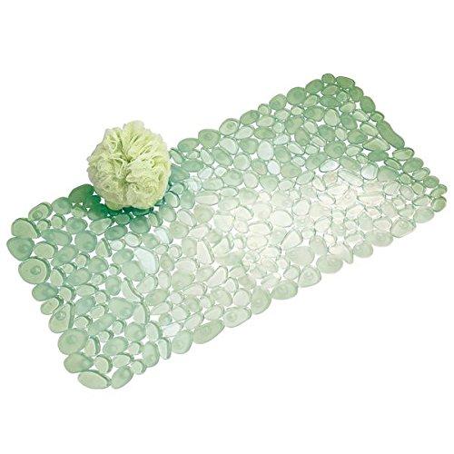 mDesign Alfombrilla de baño blanda con ventosas – Alfombra antideslizante para bañera de PVC robusto y resistente – Alfombra de ducha verde con diseño de guijarros – Para baño, bañera o ducha