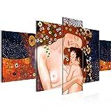 Bilder Gustav Klimt - Mutter und Kind Wandbild 200 x 100 cm Vlies - Leinwand Bild XXL Format Wandbilder Wohnzimmer Wohnung Deko Kunstdrucke Braun 5 Teilig -100% MADE IN GERMANY - Fertig zum Aufhängen 700251a