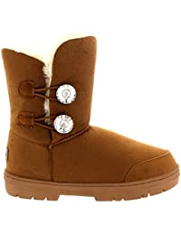 db1f810cd Mujer Twin Diamond Button Short Fur Impermeable Invierno Rain Nieve Botas  B00KW43XB2