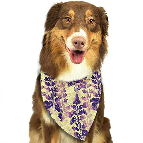 Sdltkhy Beautiful Golden Flowers Fashion Dog Bandana Haustierzubehör Easy Wash Scarf Blue Woven Tie