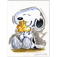 Original Feder und Aquarell auf Aquarellkarton: Peanuts Snoopy & Woodstock II / 24x32 cm
