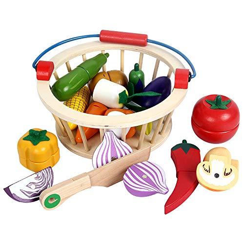 Homeng 14-teiliges magnetisches Holzspielzeug zum Schneiden von Obst, Gemüse, Essen, Spielzeug, Spielzeug mit Korb, magnetischer Holzspielzeug, Spielzeug für Kinder (Holz Obst Korb Aus)